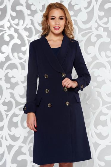 Palton Artista albastru-inchis cu un croi cambrat din stofa subtire usor elastica cu buzunare