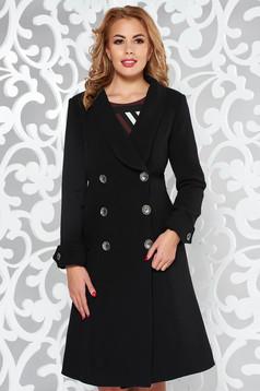 Palton Artista negru cu un croi cambrat din stofa subtire usor elastica cu buzunare