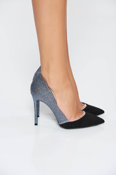 Pantofi albastru elegant cu varful usor ascutit cu aplicatii cu sclipici