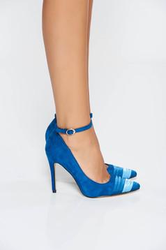 Pantofi albastru elegant cu toc inalt cu varful usor ascutit