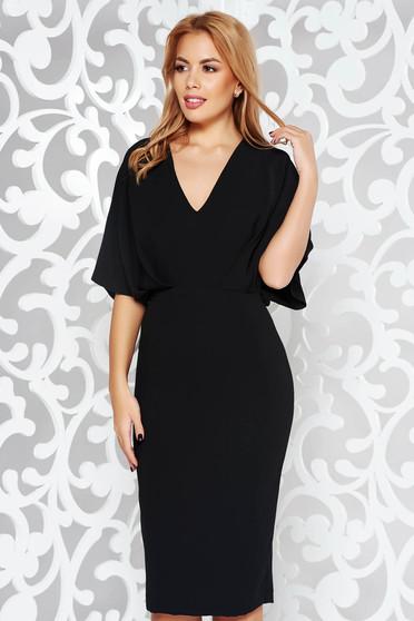 Rochie neagra eleganta tip creion din stofa neelastica subtire cu decolteu in v