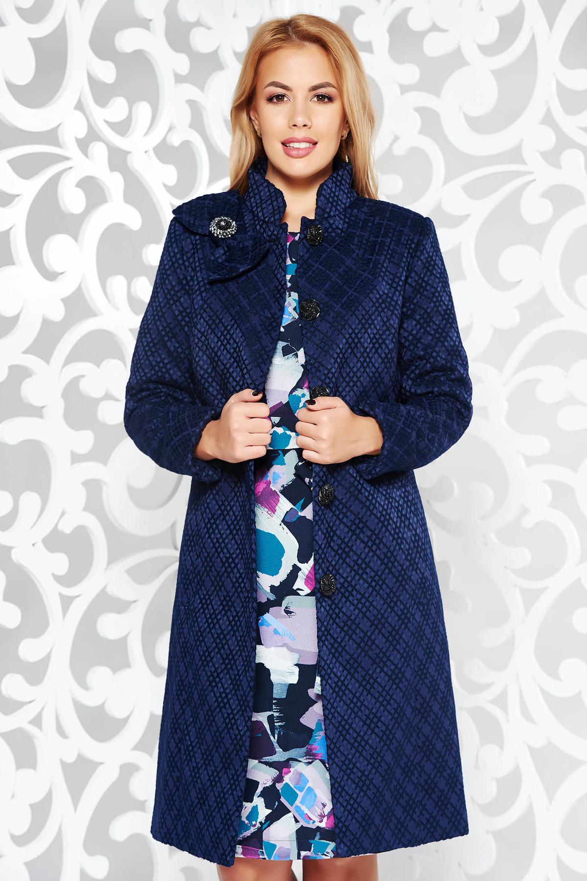 Palton Albastru-inchis Elegant Cu Un Croi Cambrat Din Stofa Neelastica Captusit Pe Interior Cu Buzunare