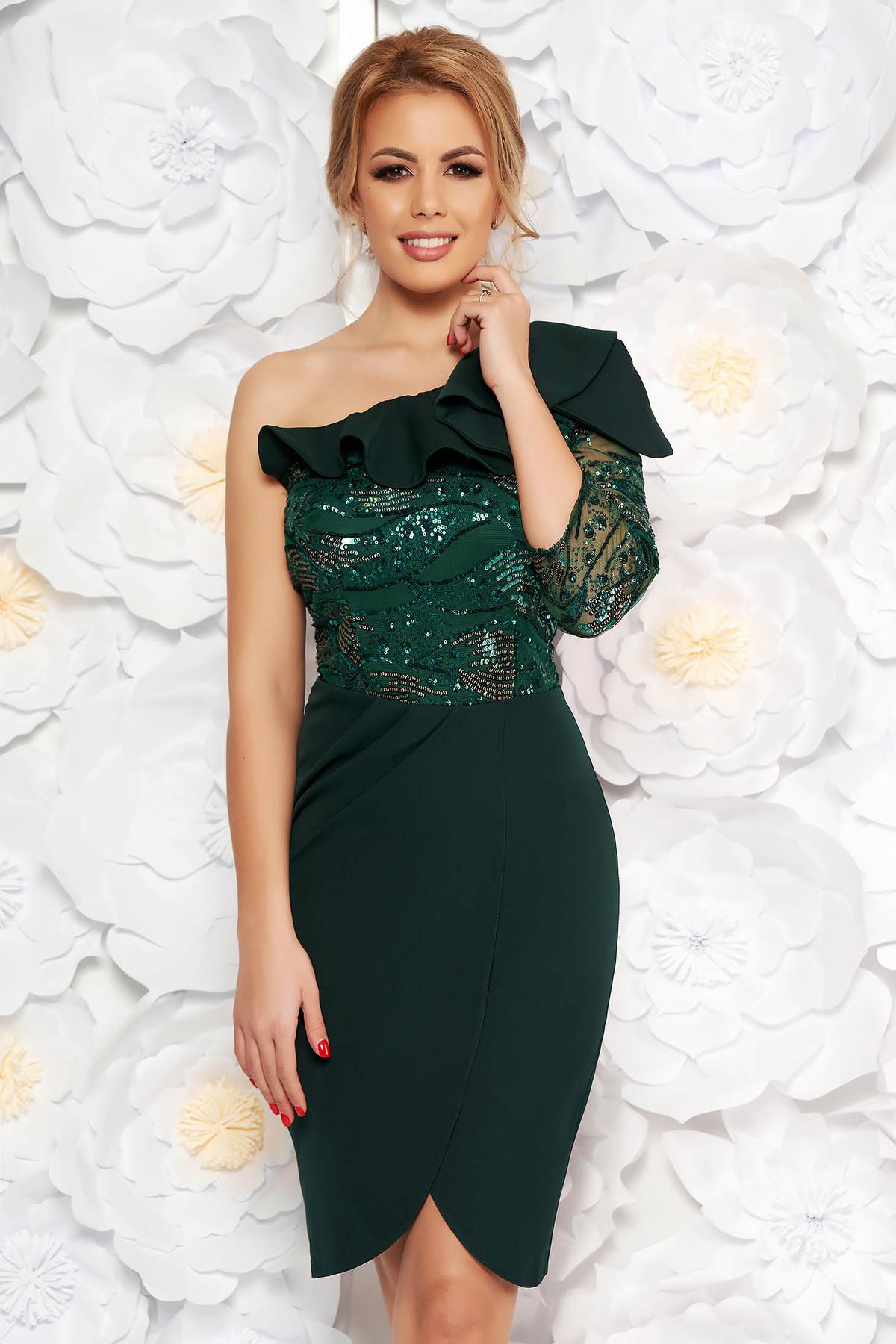 Rochie verde-inchis de ocazie tip creion din stofa subtire usor elastica cu aplicatii cu paiete