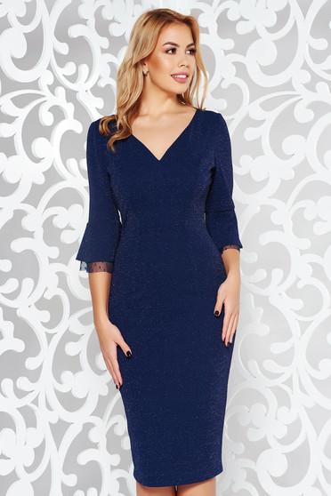 Rochie albastra-inchis de ocazie tip creion din material usor elastic cu fir lame captusita pe interior cu decolteu in v