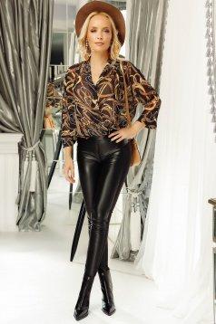Pantaloni Fofy negri casual conici din piele ecologica cu talie medie