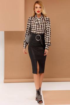 Bluza dama PrettyGirl gri office cu croi larg din material subtire accesorizata cu o fundita