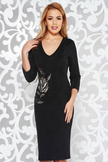 Rochie StarShinerS neagra eleganta tip creion brodata din material tricotat cu fir lame captusita pe interior