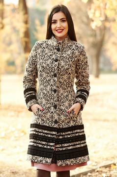 Palton LaDonna negru elegant cu un croi cambrat din lana captusit pe interior cu buzunare