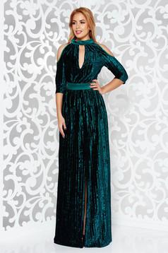 Rochie Artista verde-inchis de ocazie petrecuta din catifea plisata cu maneci decupate si decolteu adanc