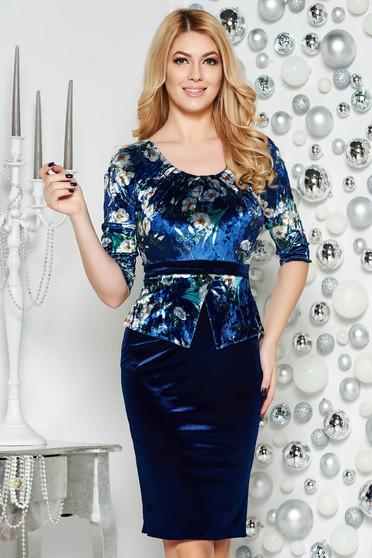 Rochie albastra-inchis eleganta tip creion cu peplum din catifea cu imprimeuri florale