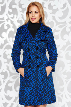 Trench albastru elegant cu un croi cambrat din stofa usor elastica captusit pe interior cu buzunare