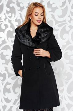 Palton negru elegant cu un croi cambrat din lana accesorizat cu blana ecologica captusit pe interior