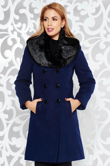 Palton albastru-inchis elegant cu un croi cambrat din lana accesorizat cu blana ecologica captusit pe interior