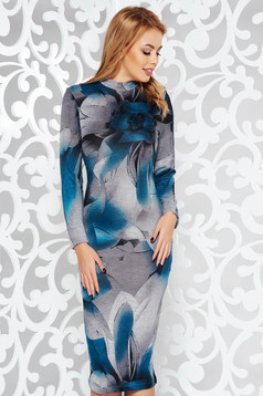 Rochie StarShinerS turcoaz de zi midi pe gat cu un croi mulat din material tricotat cu maneci lungi