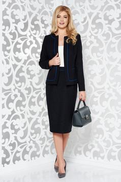 Compleu negru office din lana captusit pe interior cu fusta tip creion si sacou cambrat