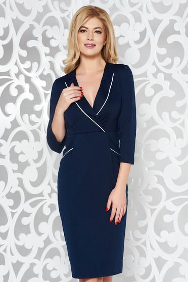 Rochie albastra-inchis office midi tip creion din stofa usor elastica cu decolteu in v