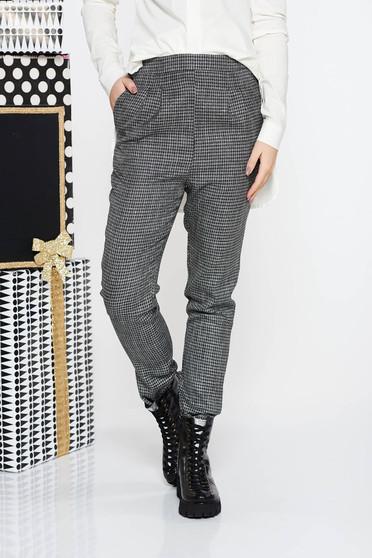 Pantaloni Fofy gri office conici cu talie medie din stofa usor elastica cu buzunare