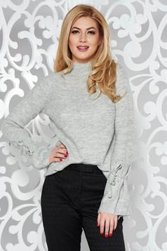 Pulover gri casual cu croi larg tricotat din material gros cu maneci clopot