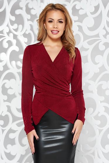 Bluza dama StarShinerS visinie de ocazie cu un croi mulat din material elastic cu decolteu in v