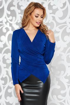 Bluza dama StarShinerS albastra de ocazie cu un croi mulat din material elastic cu decolteu in v
