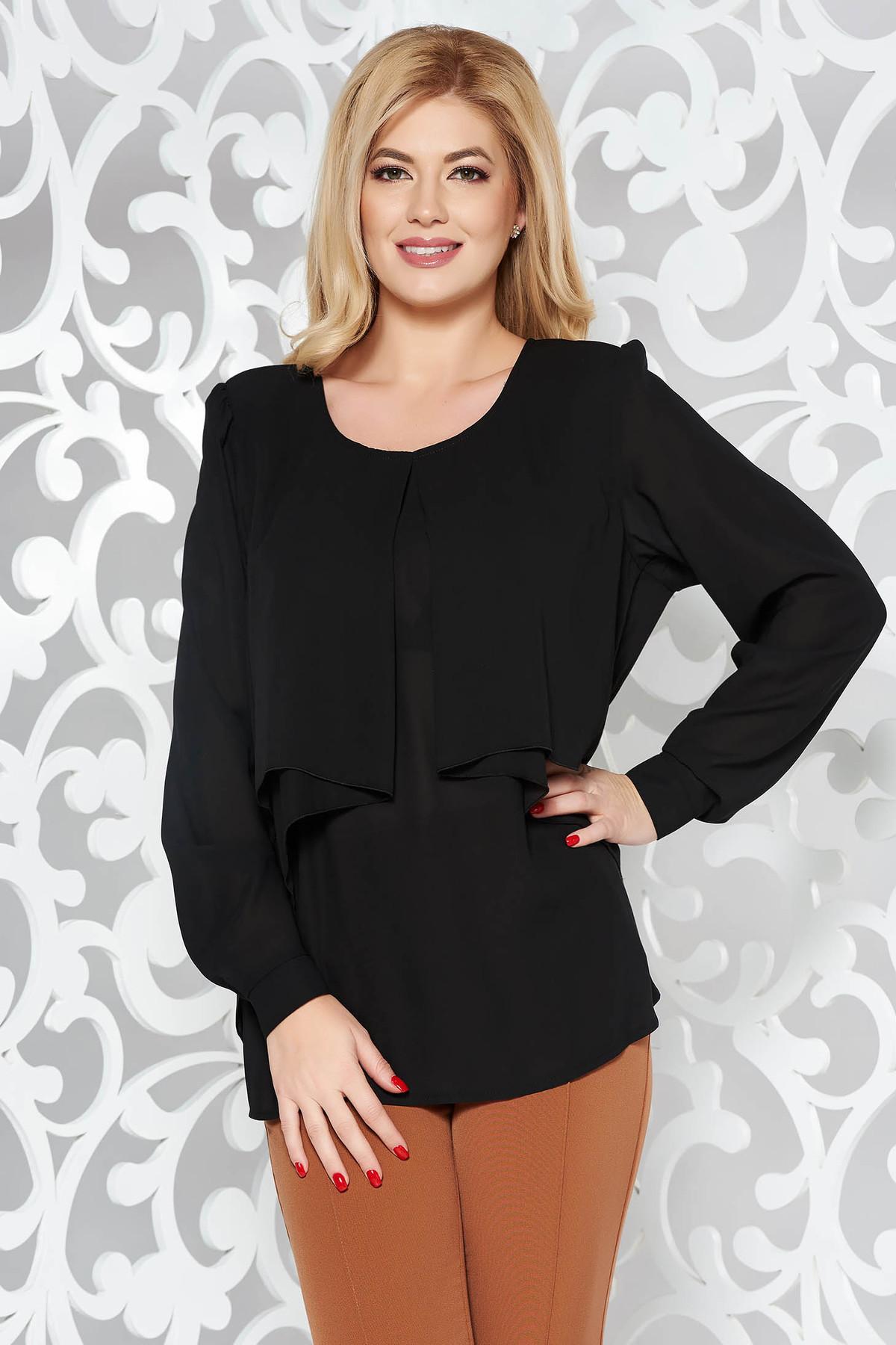 Bluza dama neagra eleganta cu croi larg din voal maneci largi
