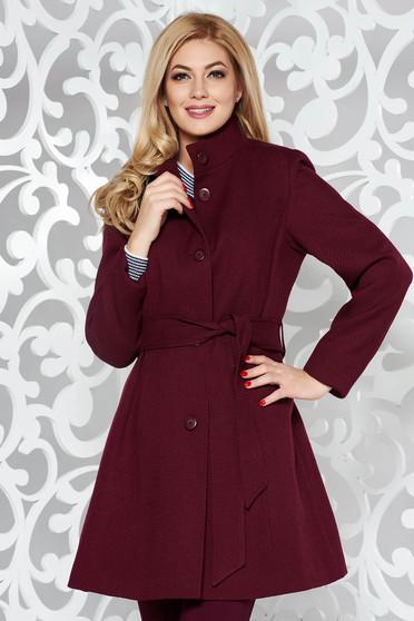 Palton visiniu casual cu maneca lunga din lana cu un croi cambrat accesorizat cu cordon