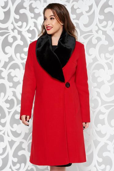 Palton LaDonna rosu elegant din lana captusit pe interior cu un croi cambrat cu guler din blana