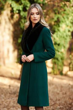 Palton LaDonna verde-inchis elegant din lana captusit pe interior cu un croi cambrat cu guler din blana
