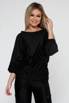 Bluza dama StarShinerS neagra casual cu croi larg accesorizata cu snur