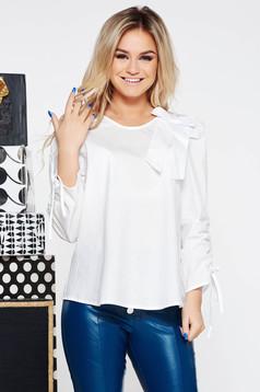 Bluza dama StarShinerS alba casual cu croi larg din bumbac neelastic accesorizata cu o fundita