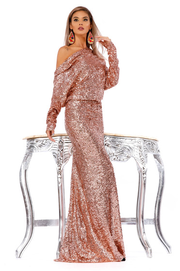 Rochie Ocassion roz deschis de ocazie tip sirena din paiete cu spatele decupat si cu maneca lunga