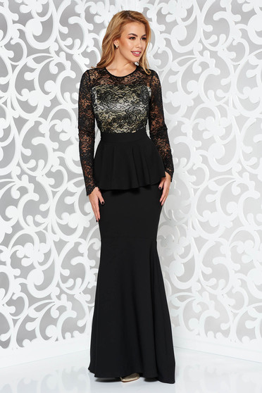 Rochie neagra de ocazie tip sirena din stofa subtire usor elastica si dantela captusita pe interior cu peplum