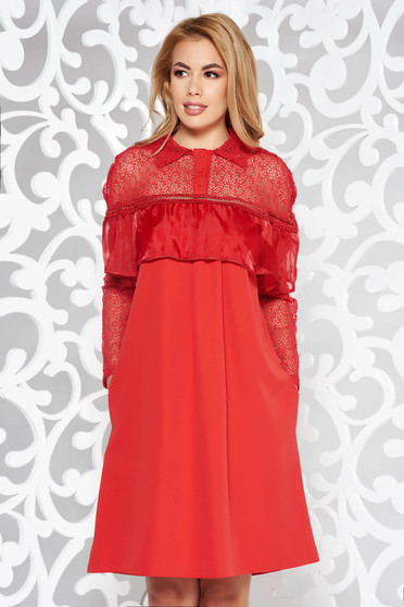 Rochie rosie eleganta cu croi larg maneci transparente din dantela din stofa usor elastica