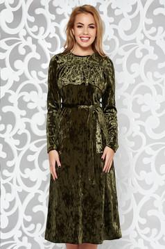 Rochie khaki de ocazie midi din catifea cu elastic in talie accesorizata cu cordon