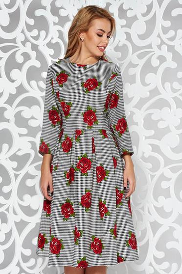 Rochie rosie eleganta in clos din bumbac usor elastic cu imprimeuri florale