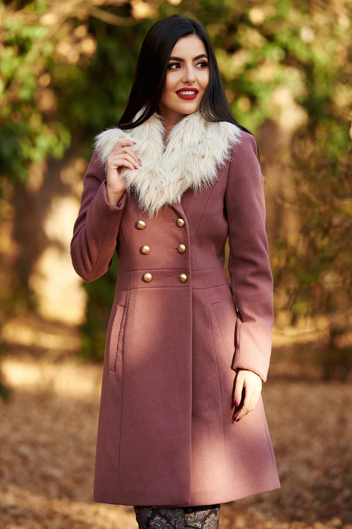 Palton StarShinerS mov elegant cu un croi cambrat din lana captusit pe interior cu guler din blana si buzunare