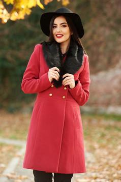 Palton StarShinerS rosu elegant cu un croi cambrat din lana captusit pe interior cu guler din blana si buzunare