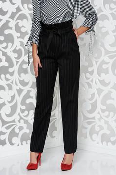 Pantaloni PrettyGirl negri casual conici cu talie inalta din stofa usor elastica accesorizati cu cordon