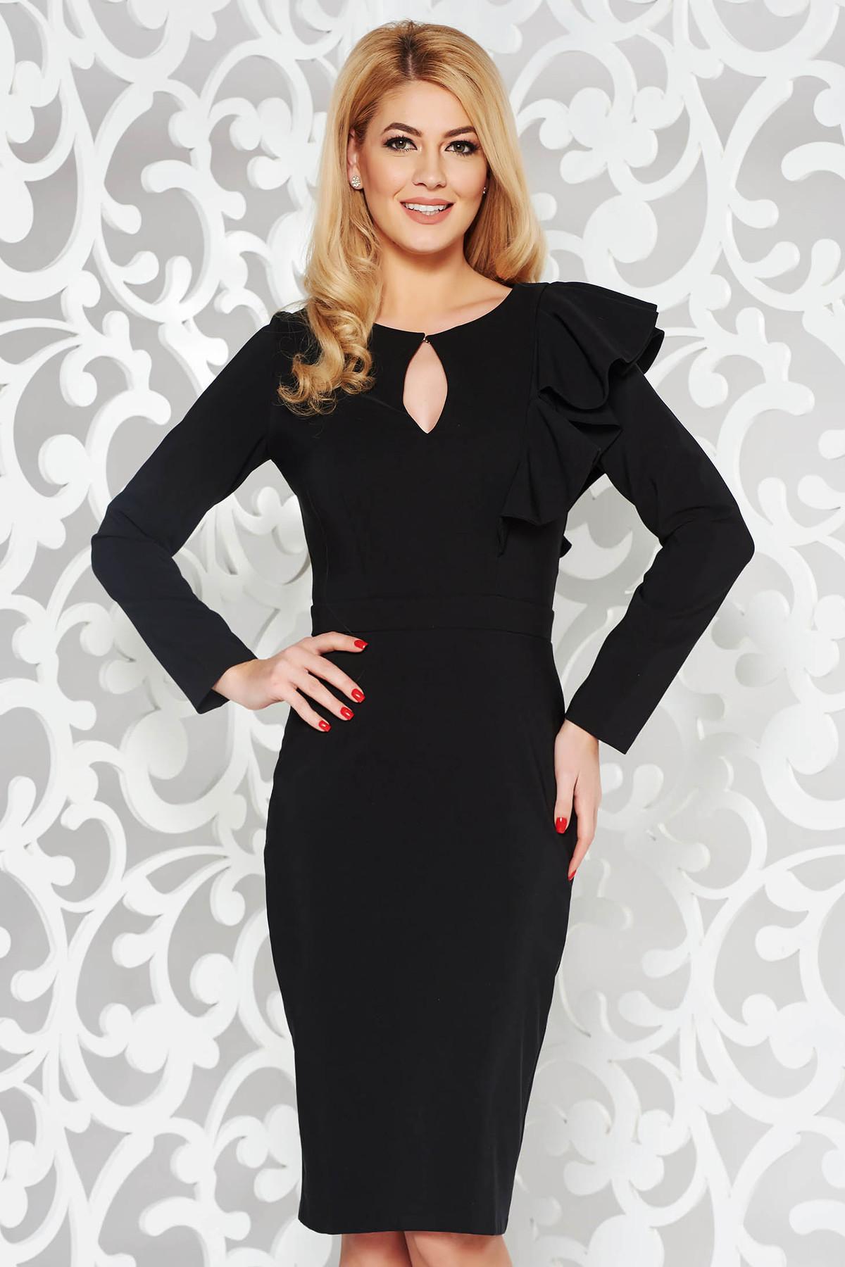 Rochie LaDonna neagra eleganta tip creion din stofa usor elastica captusita pe interior cu volanase