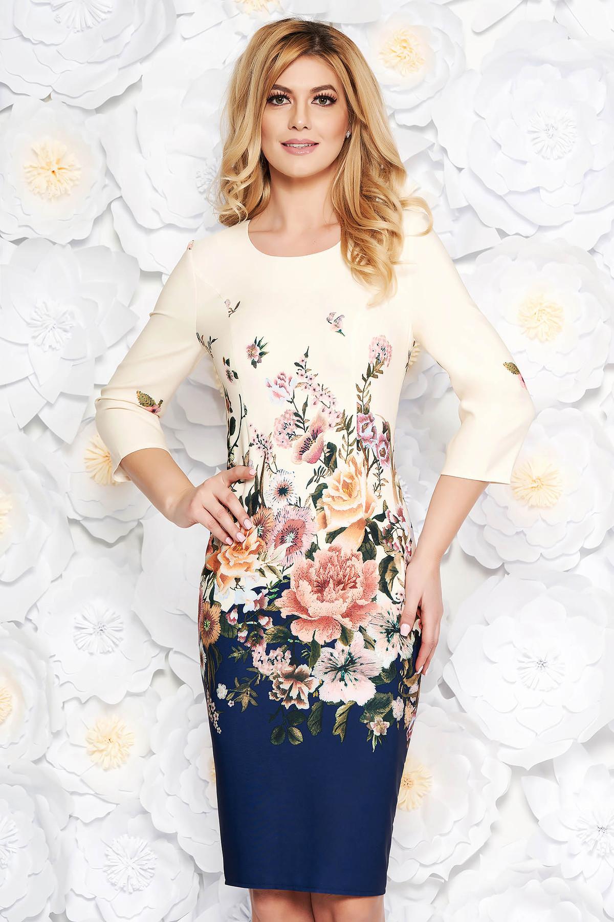 Rochie albastra-inchis de zi tip creion din stofa subtire usor elastica cu imprimeuri florale