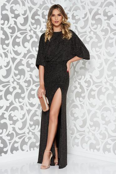 Rochie neagra de ocazie tip sirena din tesatura metalica cu luciu captusita pe interior cu spatele decupat