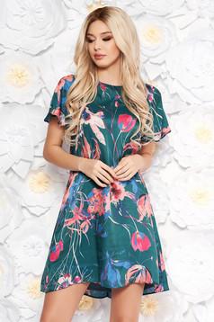 Rochie verde eleganta cu croi larg din material vaporos cu imprimeuri florale