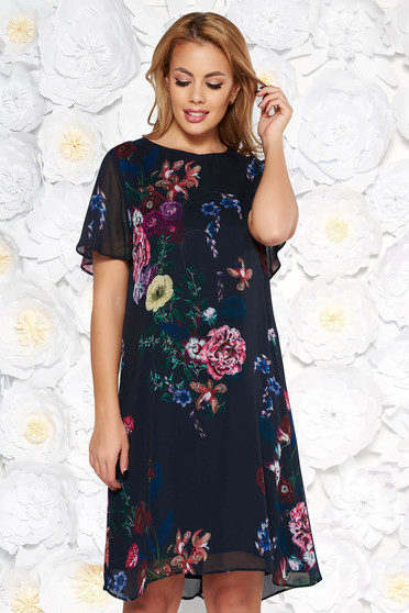 Rochie neagra eleganta cu croi larg din material vaporos cu imprimeuri florale