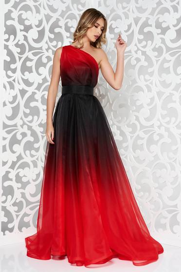 Rochie Ana Radu rosie de lux lunga in clos pe umar captusita pe interior accesorizata cu cordon