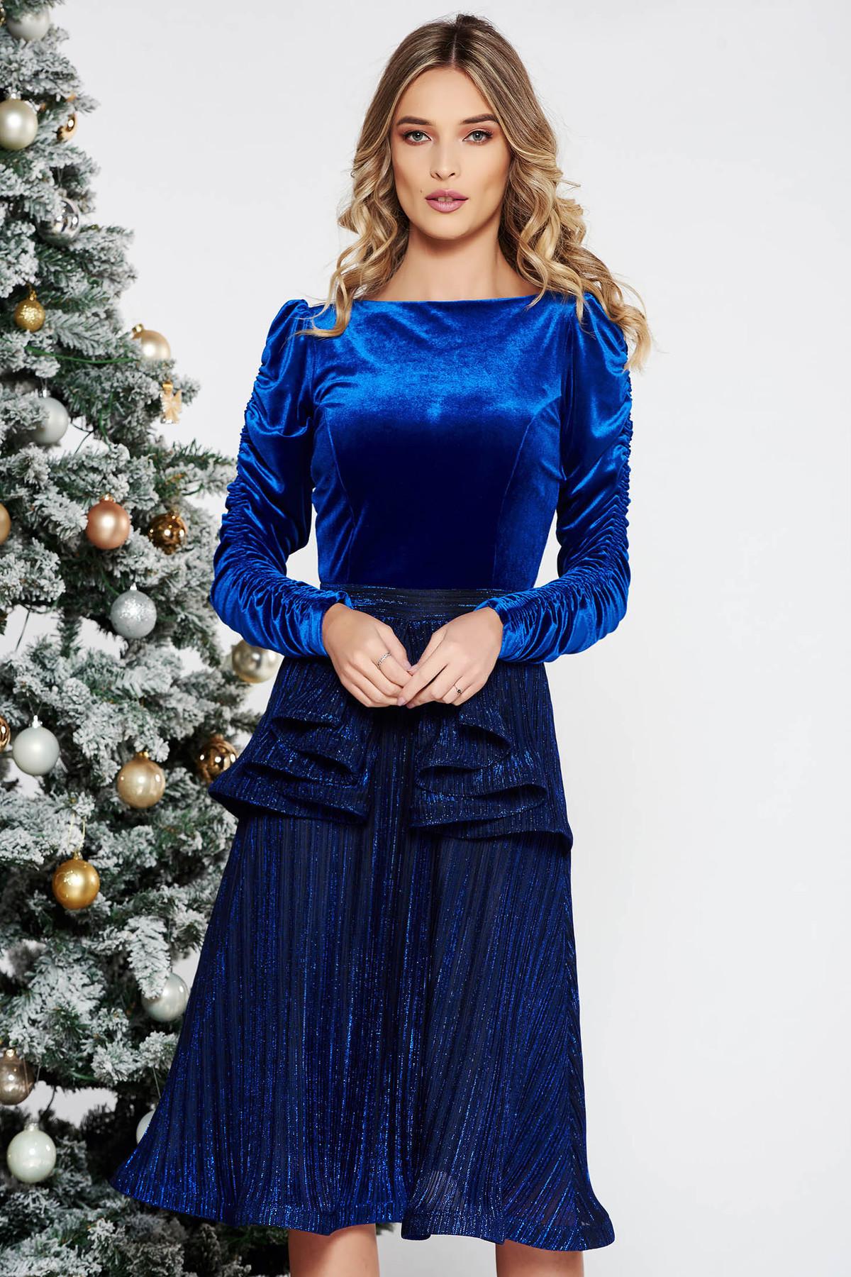 Rochie StarShinerS albastra de ocazie din catifea si material lucios captusita pe interior cu peplum