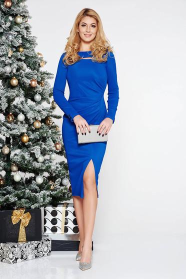 Rochie albastra tip creion din scuba cu maneci lungi decupat la bust
