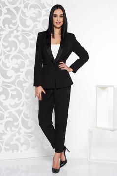 Compleu StarShinerS negru elegant din stofa usor elastica cu pantalon conic cu talie inalta si sacou cambrat