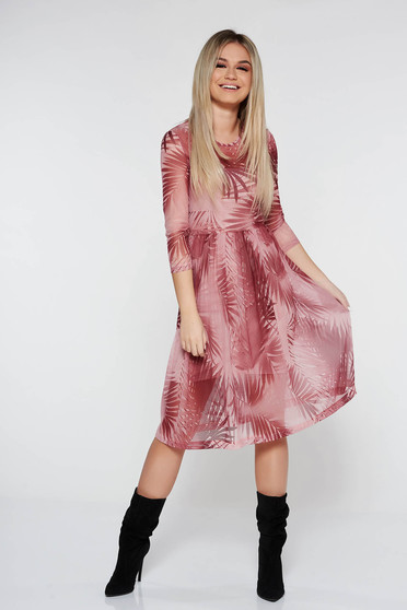 Rochie StarShinerS rosa de zi in clos din material transparent captusita pe interior