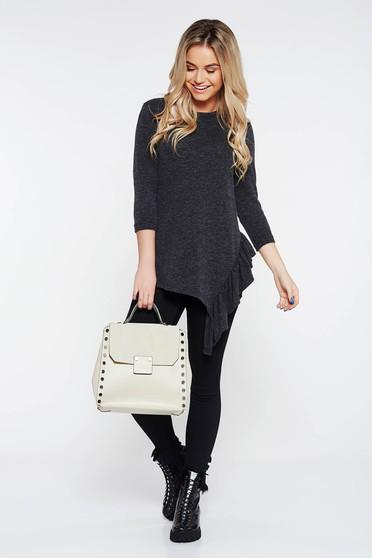 Bluza dama StarShinerS gri-inchis casual asimetrica cu croi larg din material tricotat cu volanase