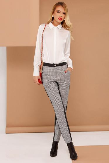 Pantaloni PrettyGirl gri office conici cu talie medie din stofa neelastica cu aplicatii din piele ecologica